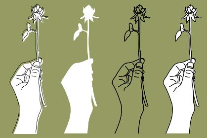 一輪の薔薇を持った手のシンプルなイラスト[3色]