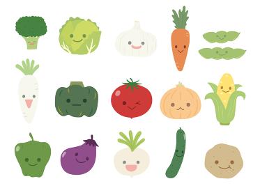 かわいい野菜のキャラクターイラスト