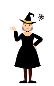 ハロウィンの仮装、魔女姿の女の子が腰に手を当てて困っているポーズ