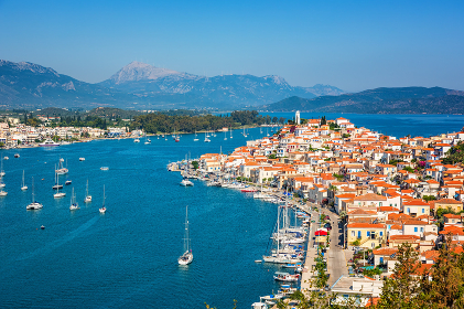 Beautiful bay near Poros island at sunny day, Greece