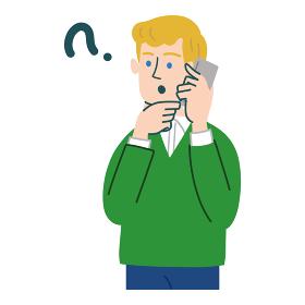 男性 外国人 ブロンド 携帯電話 スマホ 考えている