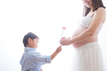 男の子と花で遊ぶ妊婦さん