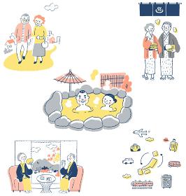 シニアカップル 温泉旅行イメージ セット