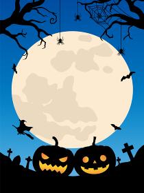 ハロウィン背景 カボチャのランタンと魔女と月