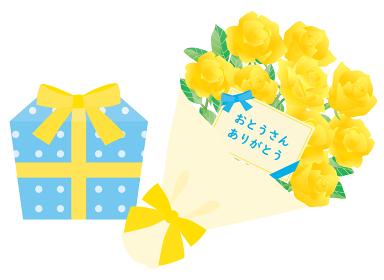 父の日のバラの花束とプレゼント