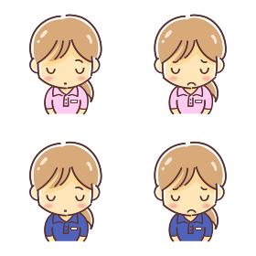 「頭を下げるポロシャツの女性」のデフォルメイラスト(介護福祉士・イベントスタッフなど)