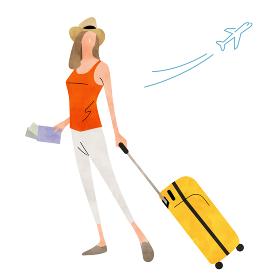 イラスト素材:旅行、若い女性