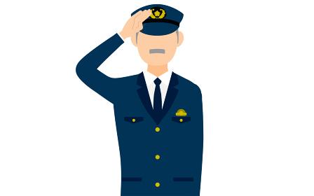 シニア男性警官のポーズ、敬礼