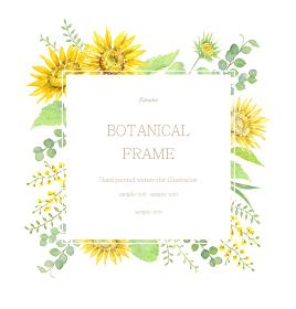 ひまわりと黄色い植物のフレーム 水彩イラスト