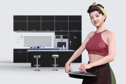 前髪がロールした黄色いヘアバンドをしたにこやかな女性がフライパンを持ってキッチンで料理をしているシーン