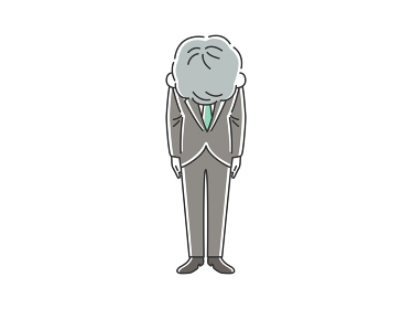 謝罪する年配男性のイラスト