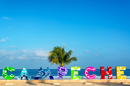 Campeche Sign and Sea View