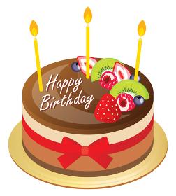 チョコレートとフルーツのお誕生日ムースケーキ