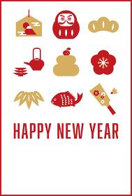 年賀状テンプレート/シンプルな和風アイコン(HAPPY NEW YEAR)