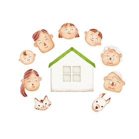 笑顔の家族 人物 家 水彩 イラスト
