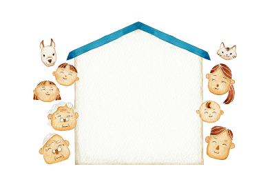 笑顔の家族 人物 家 フレーム 水彩 イラスト