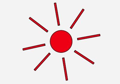 シンプルでわかりやすい赤い太陽「黒淵あり」