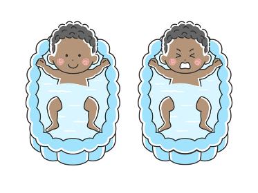 沐浴する黒人の赤ちゃんのイラスト
