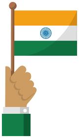 手持ち国旗イラスト ( 愛国心・イベント・お祝い・デモ ) / インド