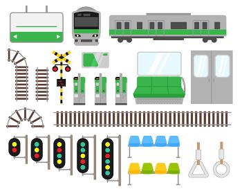 電車関連イラストセット素材