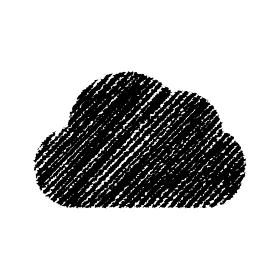 チョークで描いたような図形/アイコン(雲・クラウド)