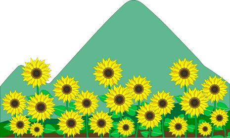 三角山と向日葵が可愛い田舎の風景