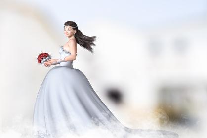 ロングヘアの黒髪をなびかせながらブーケを持って歩く純白のウエディングドレスを着た花嫁