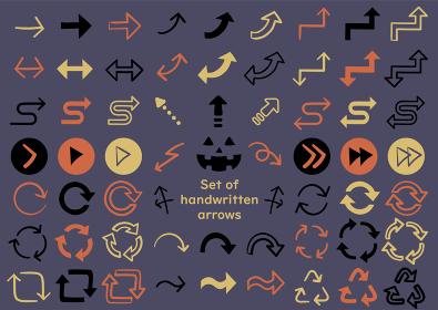 矢印のアイコンセットハロウィンカラーベクターイラスト素材
