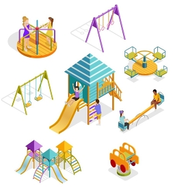 Isometric Swinging Kids Icon Set. Colored and isolated isometric swinging kids icon set with different types of elements and shells on the playground vector illustration