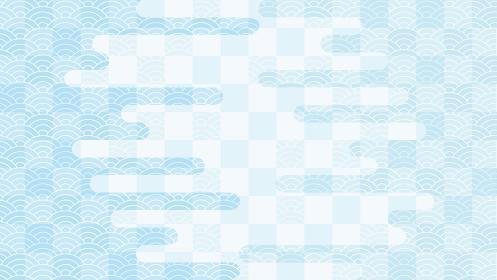 チェック模様と波紋の連続模様と霞のパーツの背景イラスト