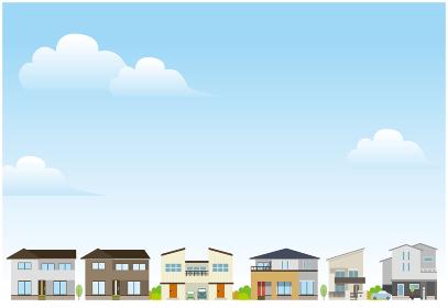住宅街の風景イラスト