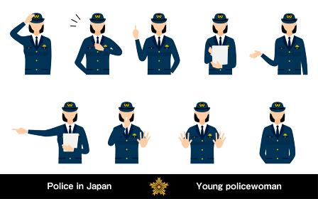 若い女性警官のポーズセット9点、敬礼や制止、取り締まりなど