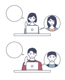 オンライン通話を楽しむ男女 二種類 人物ベクターイラスト