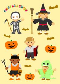 ハロウィン 子供の仮装 イラストセット