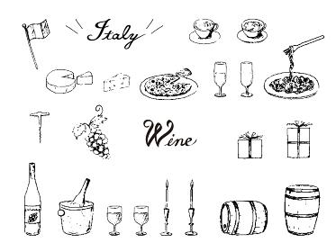 手描きペン画セット ワイン イタリアン
