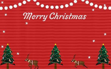 クリスマスツリーとトナカイのグリーティング