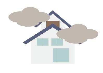 煙と家のイラスト