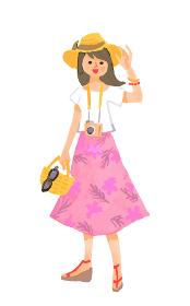 リゾート地 夏服の女性
