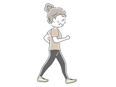 ウォーキングする年配女性のイラスト
