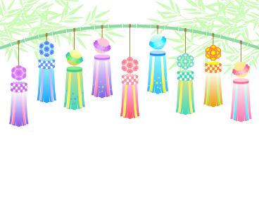 七夕の笹飾りのイラスト