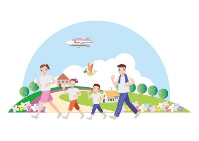 飛行機や鳥が飛ぶ公園でジョギングをする夫婦と姉弟