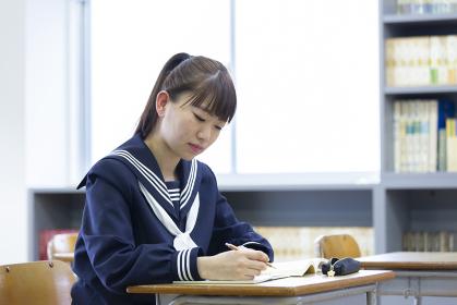 教室で勉強をする若い日本人の学生