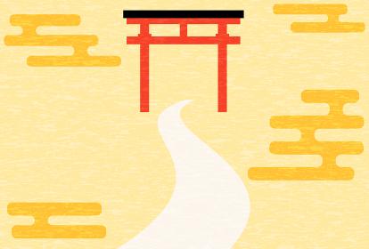 年賀状素材 初詣の鳥居と参道