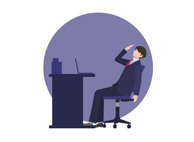 デスクの前で疲れている男性会社員 人物フラットイラスト ビジネスシーン ベクター