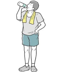 水分補給 中年男性 タオル