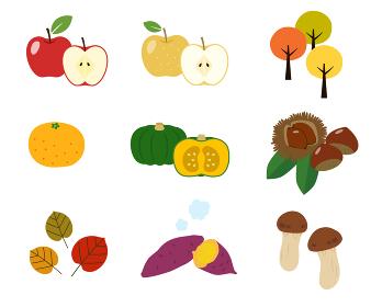 秋の味覚 食べ物 イラストセット
