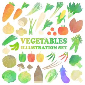 野菜の水彩イラストセット