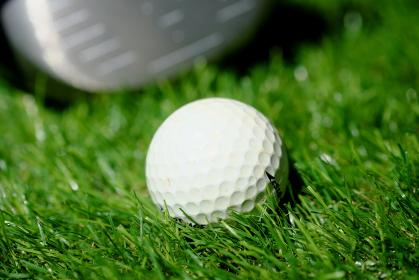 ドライバーとゴルフボールのアップ