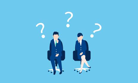 ビジネスパーソン、椅子に座る男女、共働きのイラストイメージ