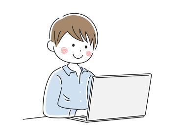 ノートパソコンで仕事をする男性のイラスト